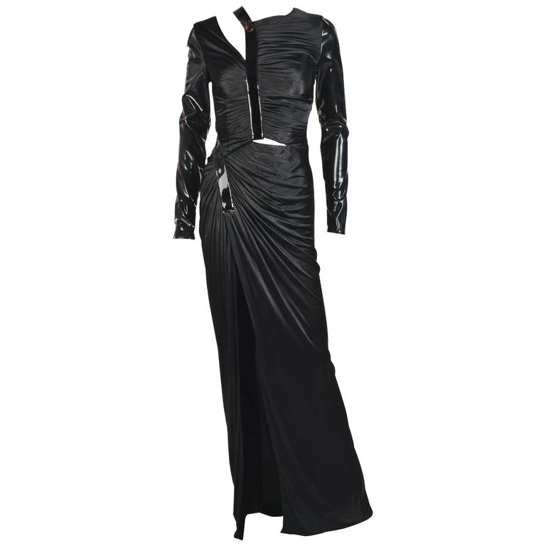 New VERSACE Hottest Black Liquid Jersey Gown With Vinyl Sleeves For Sale
