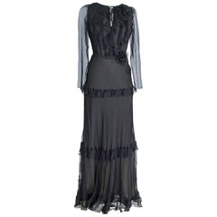 Oscar De La Renta Black Silk Chiffon Ruffle Gown Accentuated by two Flower Pins