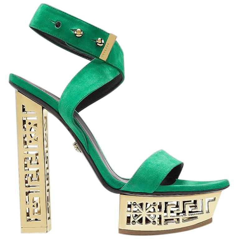 3a09ec5bda7 HomeFashionClothingShoes. Versace  GREEK green platform sandals For Sale