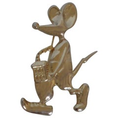 Gold Tone Mouse Brooch Pin