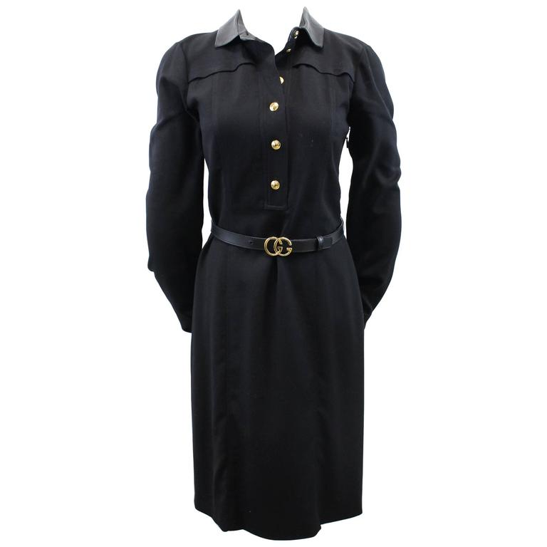 Gucci Black Wool Dress with black leather and golden Buckle Belt