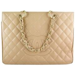 Chanel Gst Jumbo Caviar Beige Grand Shopping Tote Bag