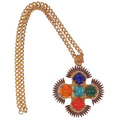 Large 1970's Larry Vrba for Castlecliff Exotic Medallion Necklace