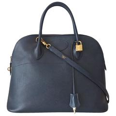 Hermes Bolide Bag 2 ways Navy Blue Courchevel Leather Gold Hdw 37 cm