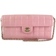 Chanel Pink Lambskin E/w East West Baguette Flap Clutch Bag