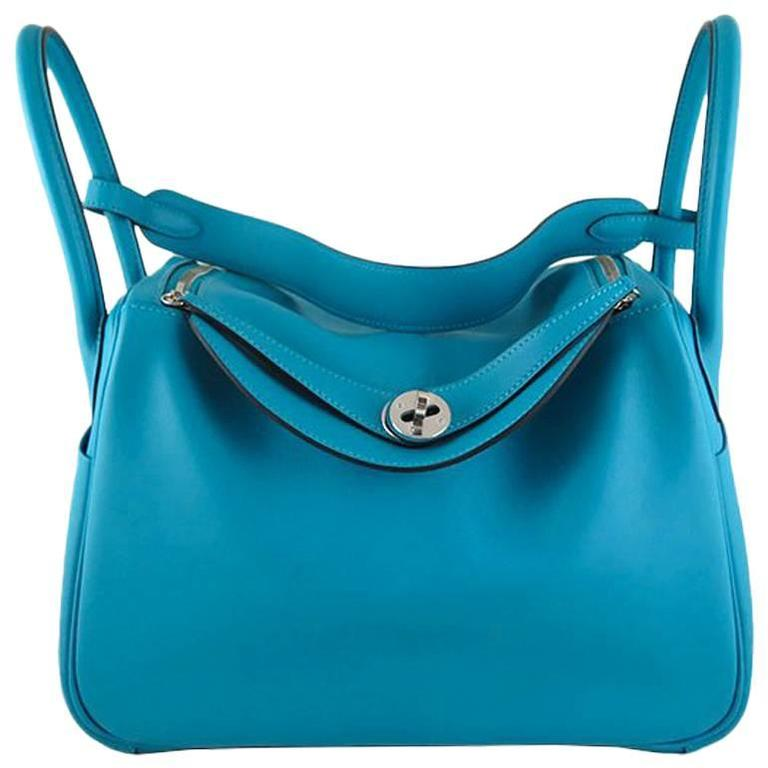 Hermes Lindy 30 Turquoise Swift Leather Blue Shoulder Bag