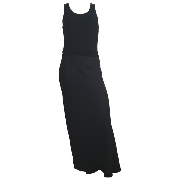 Donna Karan Black Silk Minimal Bias-Cut Gown Size 4.