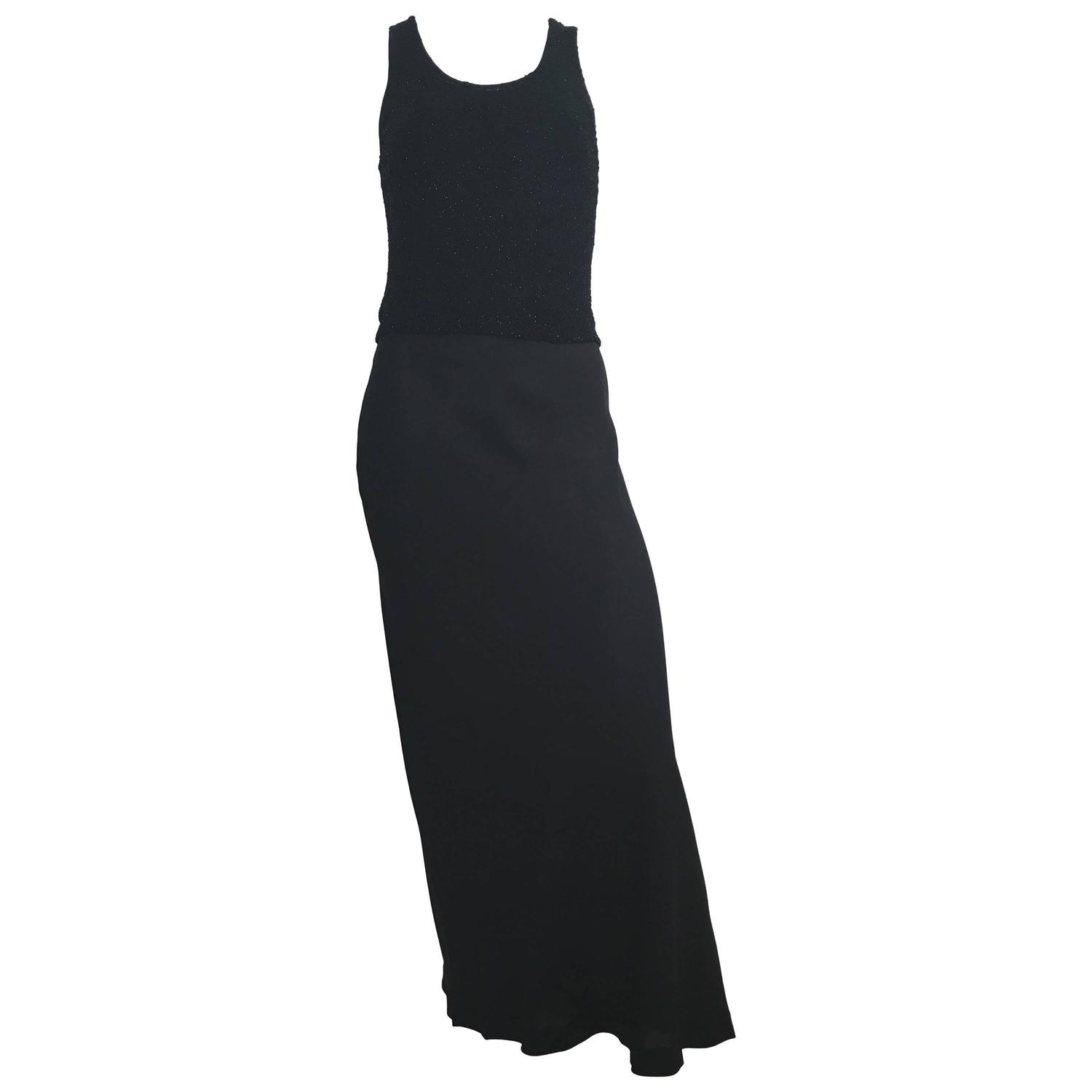 Donna Karan Black Silk Minimal Bias Cut Gown Size 4