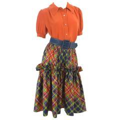 Vintage Yves Saint Laurent Silk Blouse & Asymmetric Skirt with Belt