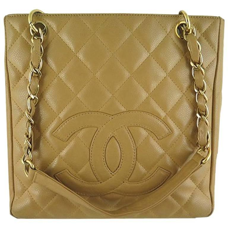 Chanel Pst Beige Caviar Leather Petite Shopping Tote Bag
