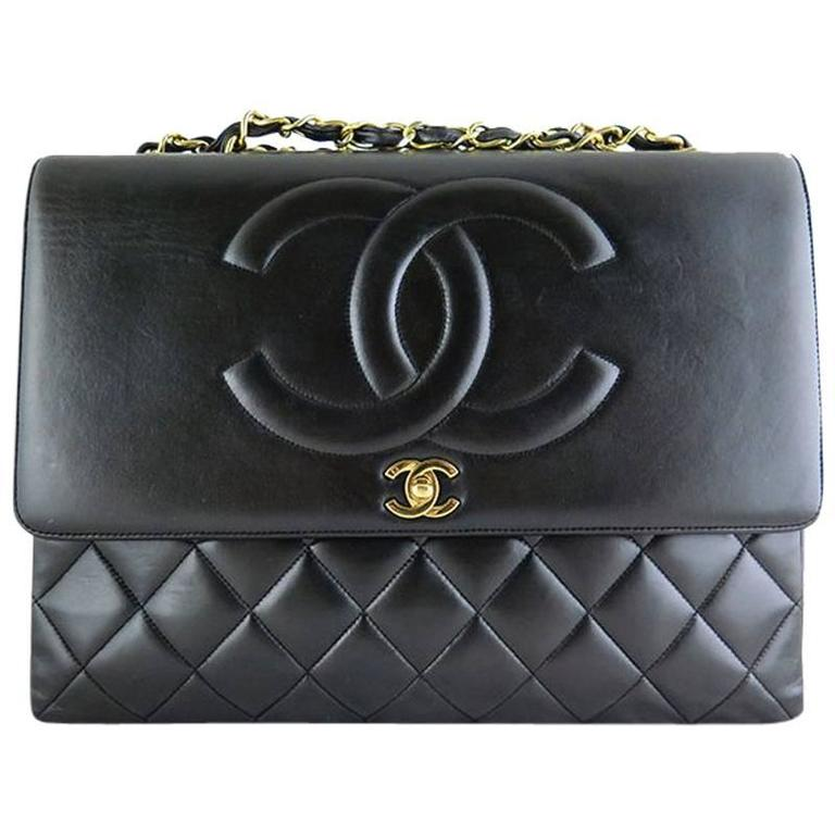 Chanel Maxi Jumbo Black Lambskin 2.55 CC Evening Flap Bag