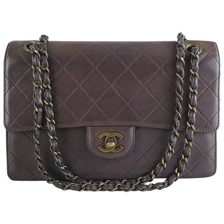 Chanel Brown Medium Lambskin 2.55 CC Evening Flap Bag