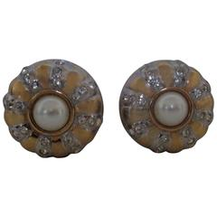 Gold tone with Swarovski and faux pearls clip on earrings