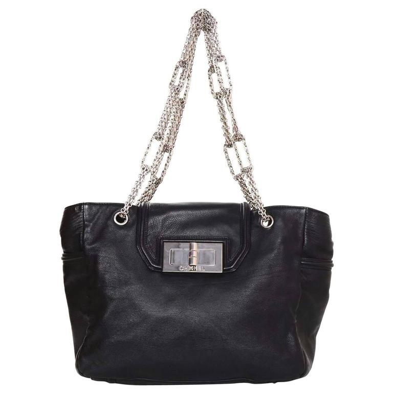 Chanel Black Leather 2.55 Reissue Lock Tote w/ Heavy Chain Straps rt. $3,995 For Sale