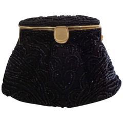 1970s Black beads gold tone shoulder bag