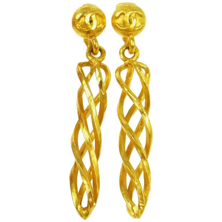 Chanel Vintage Gold Twist Long Charm Dangle Drop Evening Earrings For