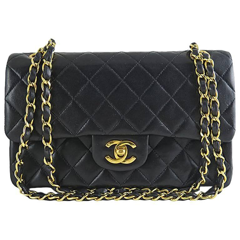 Chanel Black Lambskin 9inch Classic 2.55 Double Flap Bag