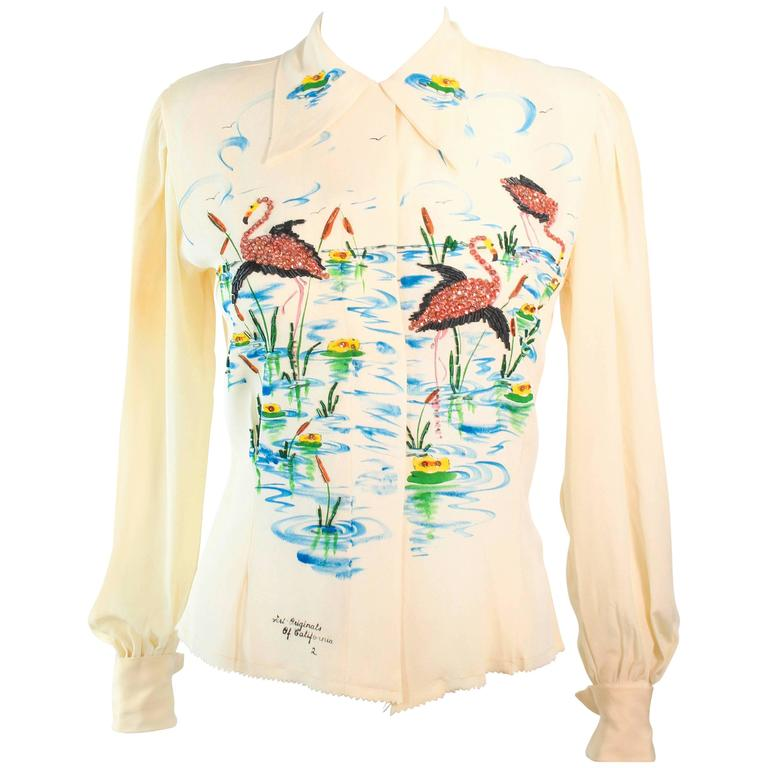 ART ORIGINALS CALIFORNIA 1950s Hand Painted Silk Ivory Blouse Flamingoes & BeadS For Sale