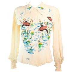 ART ORIGINALS CALIFORNIA 1950s Hand Painted Silk Ivory Blouse Flamingoes & BeadS