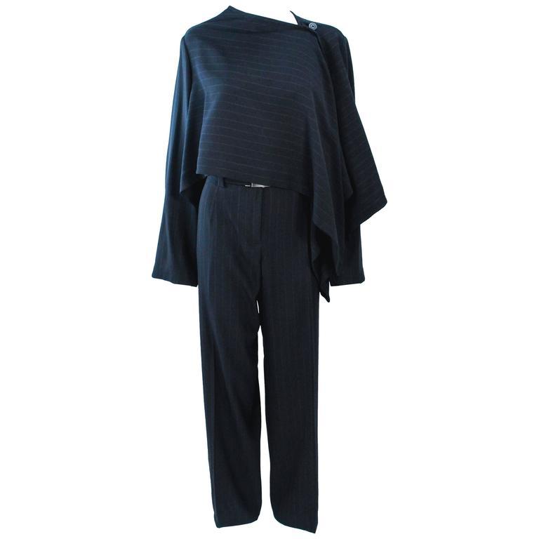 GIORGIO ARMANI Black Pinstripe Asymmetrical Drape Suit Size 10