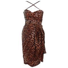 GUY LAROCHE Chiffon Animal Print Criss Cross & Draped Bustier Skirt Set Size 40