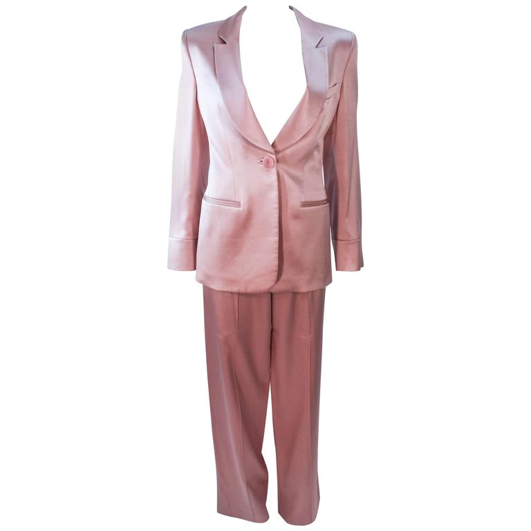 Professional Sale Online Professional Cheap Online Pink Mauve Silk Pant Suit With Beaded Mesh Body Suit Size 42 Giorgio Armani 2DWWL7pKj