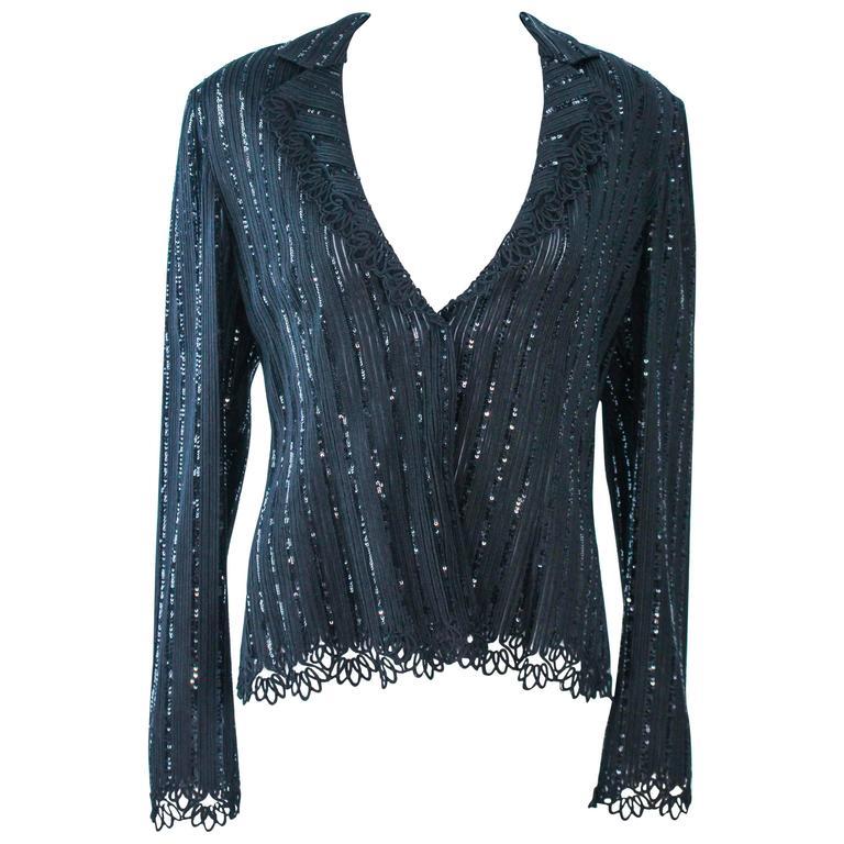 GIORGIO ARMANI Black Sequin Knit with Lace Sweater Size 48