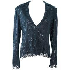 GIORGIO ARMANI Black Sequin Knit with Lace Sweater Size 48