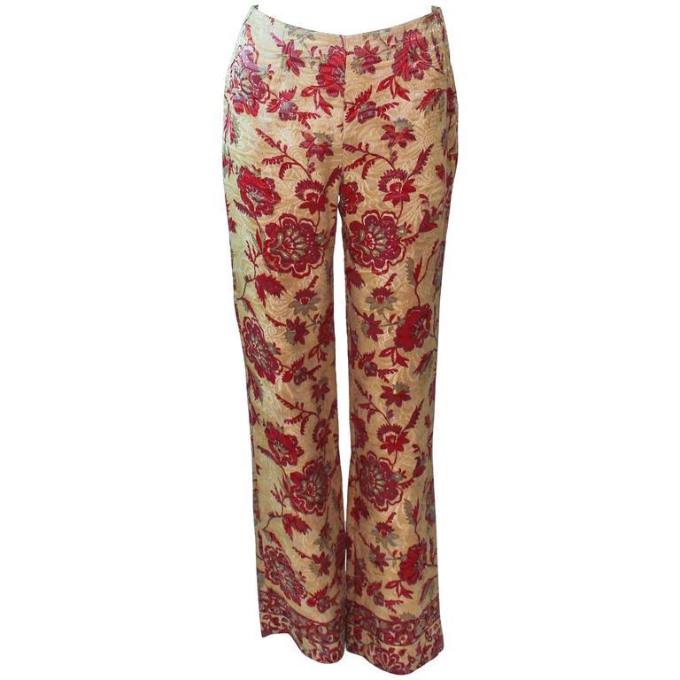 VALENTINO Silk Brocade Tapestry Pants Size 2 4