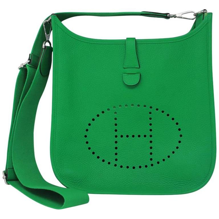 c8df4d5430f3 Hermes Evelyne III PM Bamboo Green Clemence Leather Handbag in Dust Bag  2014 For Sale