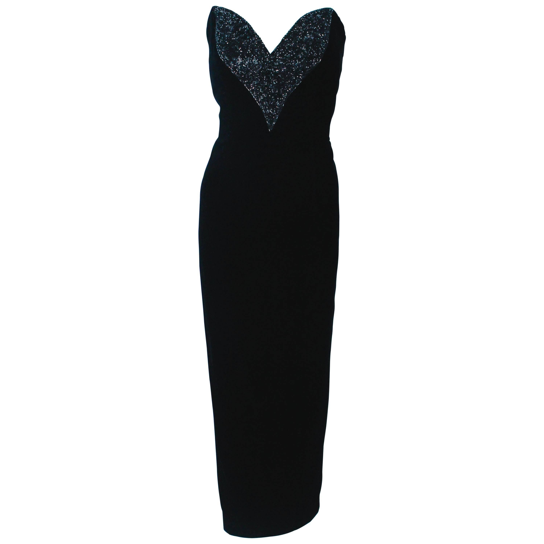 OLEG CASSINI Black Tie Black Velvet Sweet Heart Strapless Beaded Gown Size 8 10