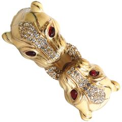 1970s Ciner Double Headed Panther Jeweled Bracelet