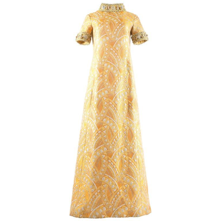 Bellvile Sassoon 1968 A-line brocade embellished evening dress
