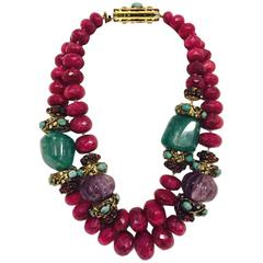 Important Iradj Moini Large Faceted Gem Stone Necklace