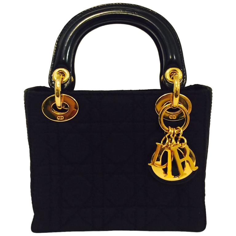 Christian Dior Lady Dior Mini Black Nylon Bag With Gold Tone Hardware