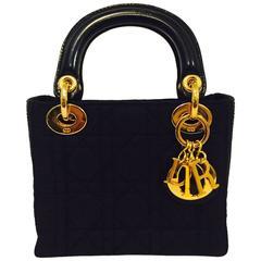 Christian Dior Lady Dior Mini Black Nylon Bag With Gold Tone Hardware