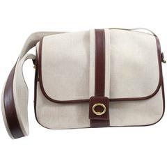 Hermes Vintage Shoulder Messenger Bag in Leather and Canvas