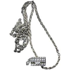 Rare Chanel Sterling Silver Pendant with the shape of a Coco Chanel Quilted Bag