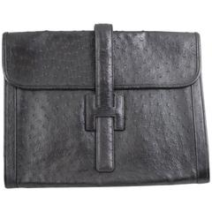 Awesome Vintage Hermes Jige GMClutch in Ostrich Leather
