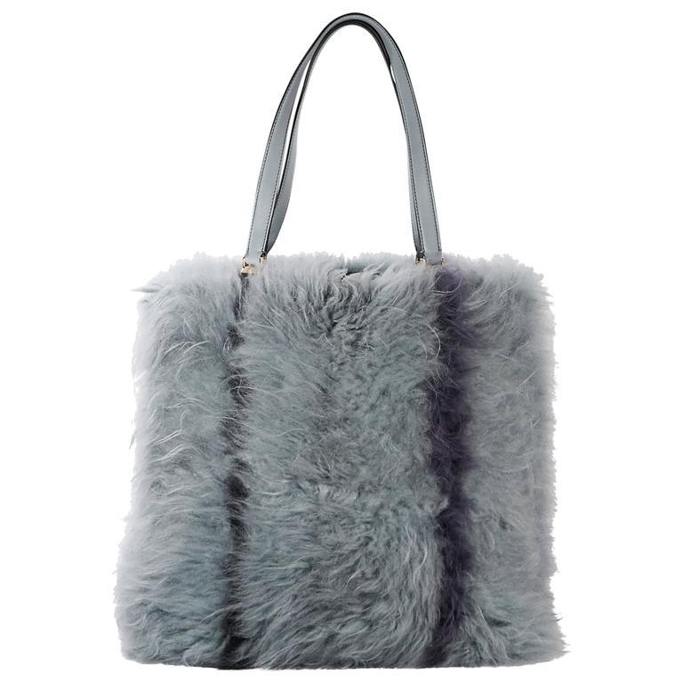 af3cd7e4aa6 Blue Tod's Monogolian Fur Tote Bag For Sale at 1stdibs