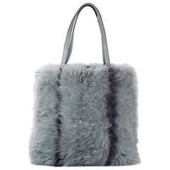 Blue Tod's Monogolian Fur Tote Bag