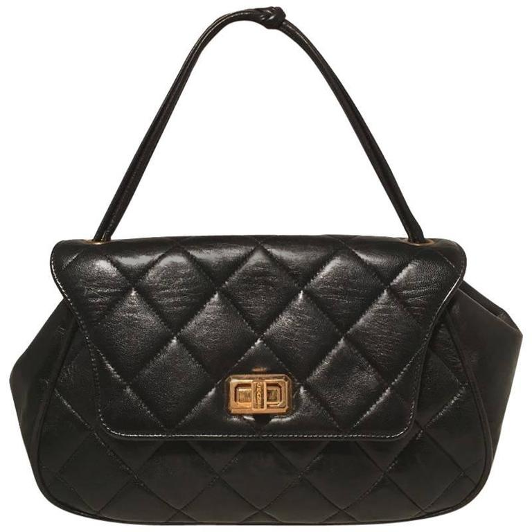 Chanel Rare Vintage Quilted Black Leather Top Flap Classic Handbag For Sale