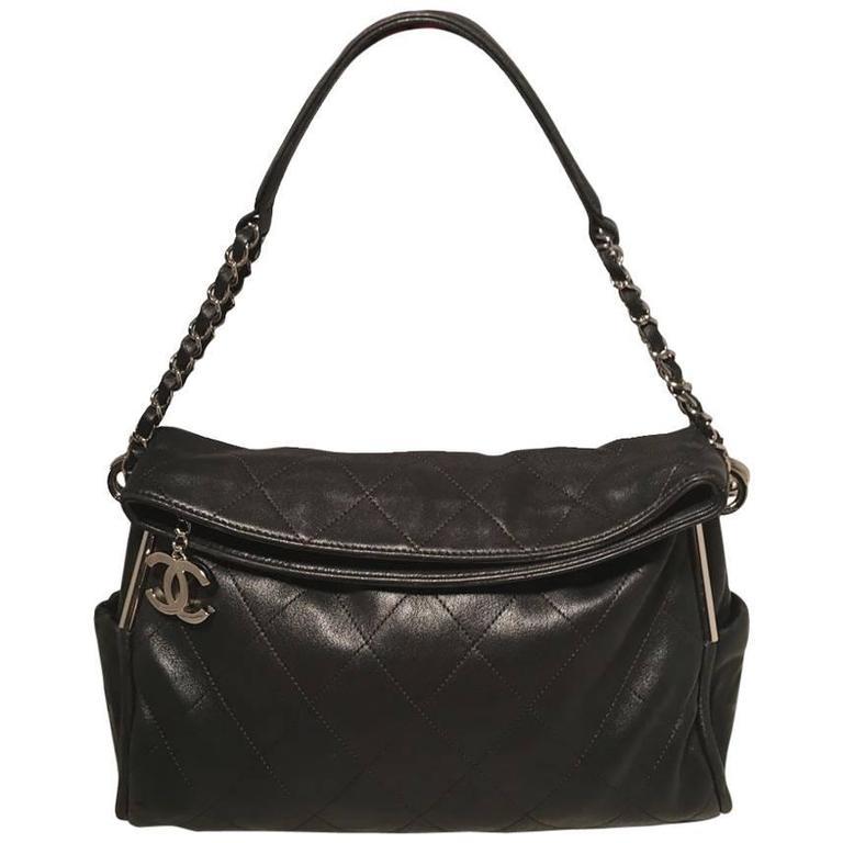 Chanel Quilted Black Leather Fold Over Top Flap Shoulder Bag For Sale