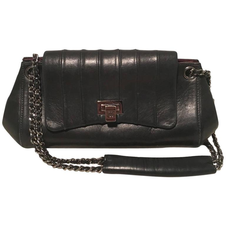 9fab842d80af Chanel Black Leather Pleated Top Flap Classic Shoulder Bag For Sale ...