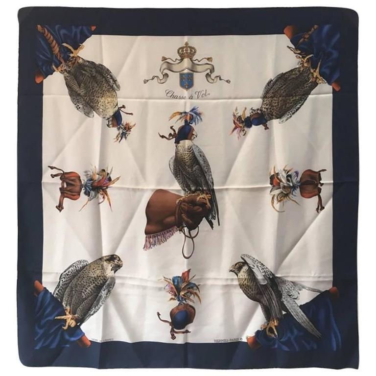 Hermes Vintage Chasse a Vol Silk Scarf c1960s  1