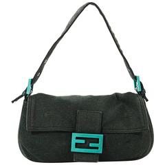 Green Fendi Cotton Baguette Bag