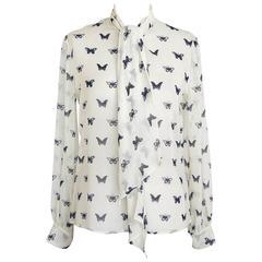 Alexander McQueen Top Semi Sheer Silk Butterfly Print Blouse  44 / 8