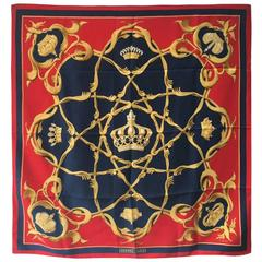 Hermes Rare Crowns Couronnes Silk Scarf in Red and Blue c1960s