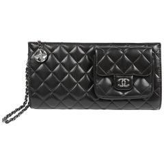 Chanel Black Lambskin Wristlet Clutch