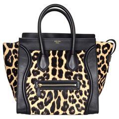 Celine Black Leather Leopard Print Ponyhair Mini Luggage Tote Bag rt. $4,100